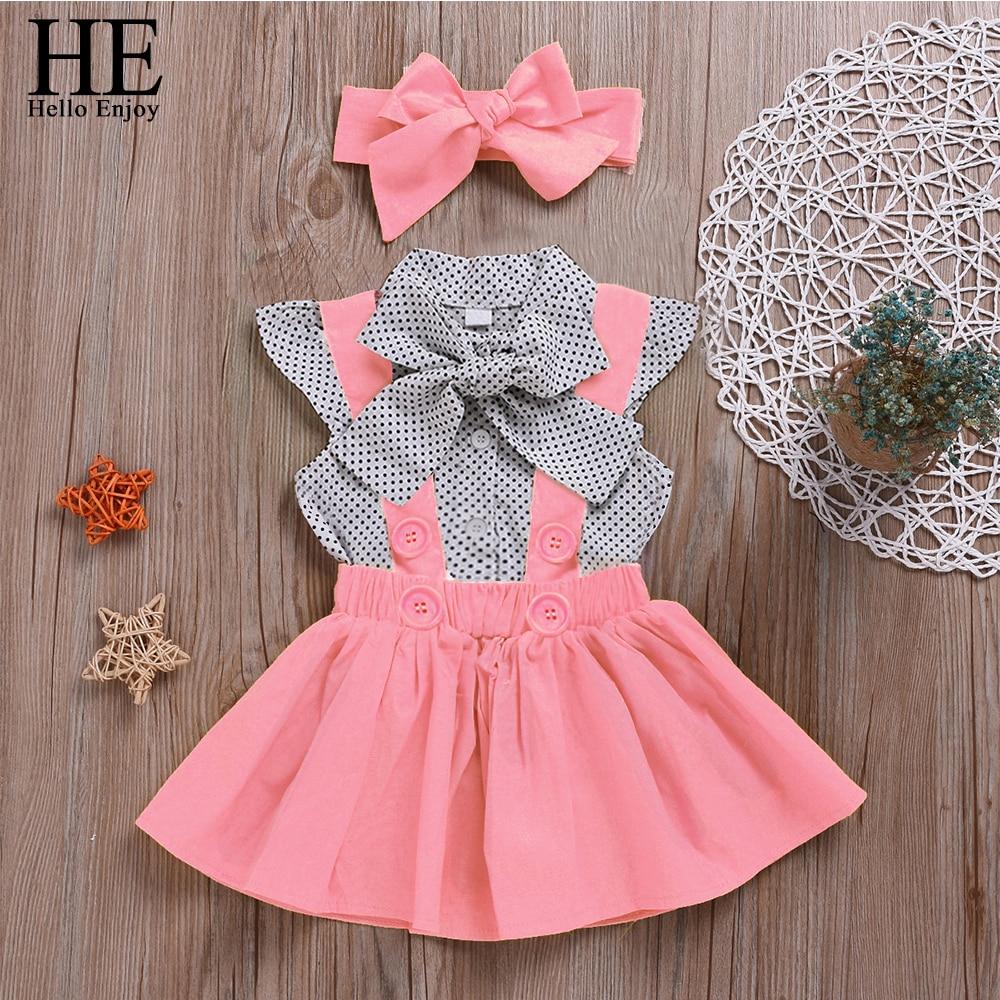 HE Hello Enjoy Baby Girls Summer Clothes Sets 2021 Dot Flying Sleeve Shirt+Pink Strap Dresses+Headband Kids Children Clothing