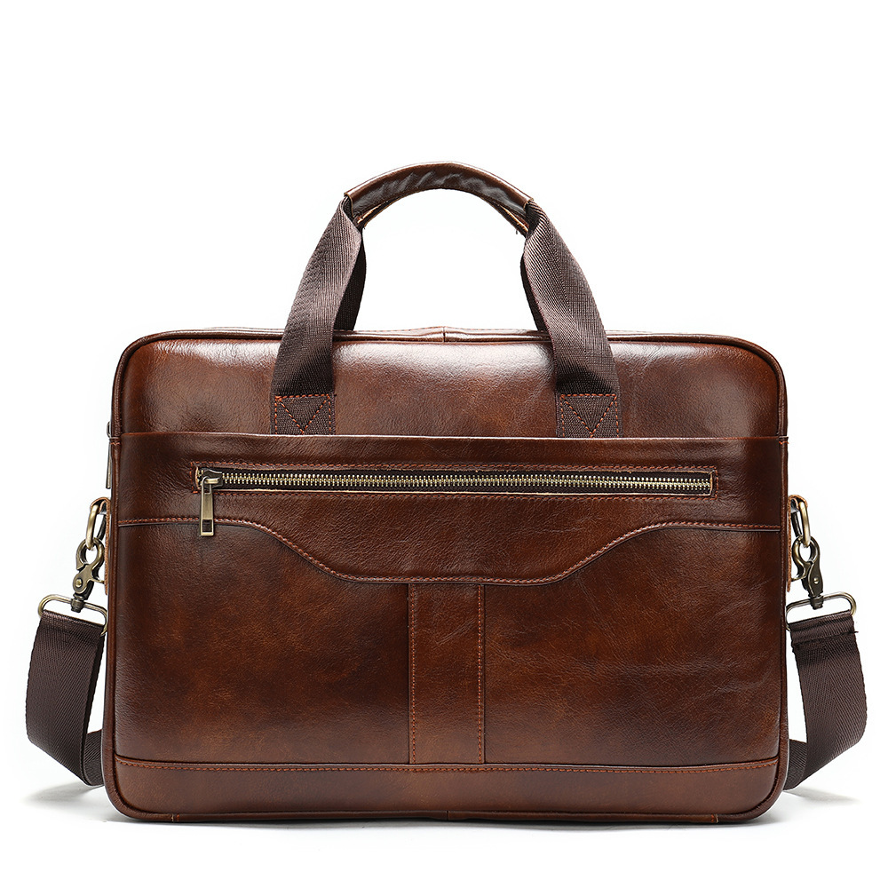 Genuine Leather Man Business Briefcase Bag 14 Inch Office Laptop Tote Bags Male Handbag Men's Shoulder Messenger Cowhide 8824