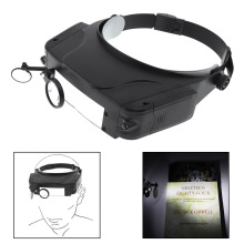 11X  Headband Magnifier Wearing Type Magnifying Glass Optical Lens Tool with LED Light and 3 Magnifying Lens for Jewel Repair mg81001 h two way regulation head wearing magnifier w 2 led light black white 3 x aaa