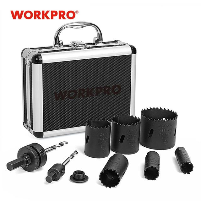WORKPRO 9PC HSS Core Drill Bits Universal Hole Saw Set High Speed Steel Carbide Tip Hole Saw Tooth for Wood Metal 1