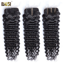 BAISI Brazilian Deep Wave Transparent Lace Closure 4x4 Human Hair Closure HD Swiss Lace Closure Free Middle Part Closures Only