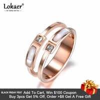 Lokaer-Anillo de boda de acero inoxidable para mujer, sortija, Zirconia cúbica, doble Concha, Color dorado, Rosa nuevo, R18005