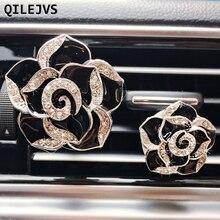 QILEJVS 2 Pcs Auto Car Dashboard Air Freshener Diamond Flower Clip Perfume Diffuser Decor