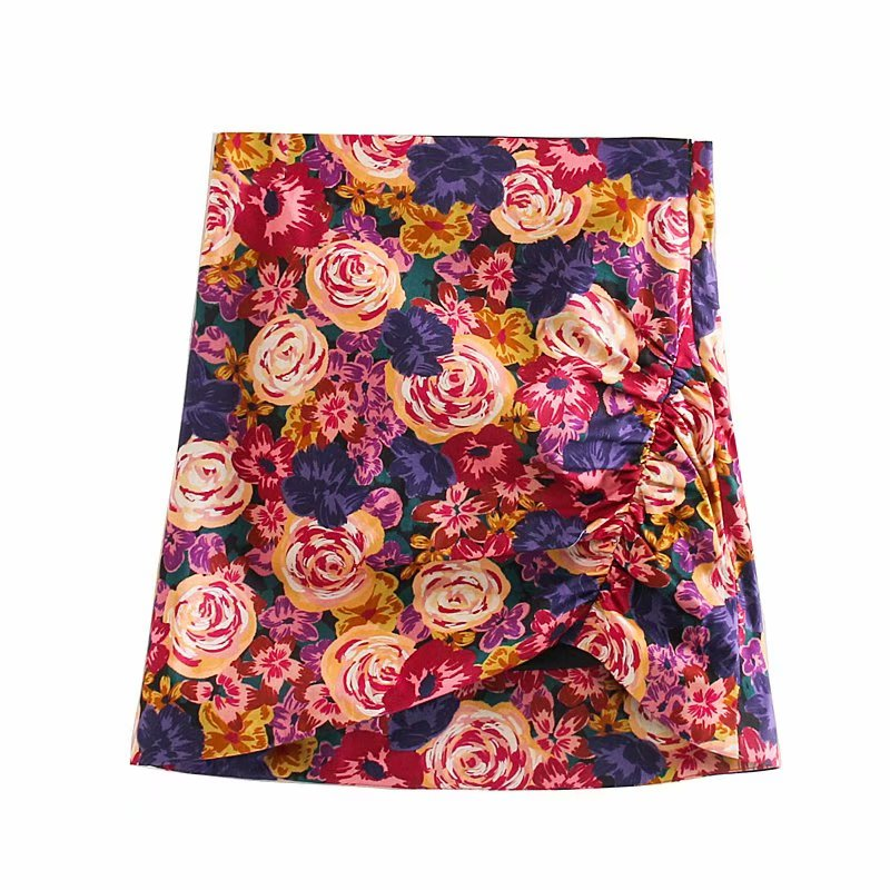 2020 Women Sweet Tropical Flower Print Pleated Mini Skirt Faldas Mujer Ladies High Waist Side Zipper Hem Irregular Skirts QUN537