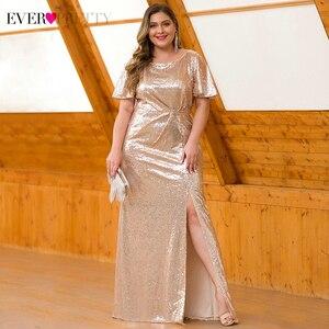 Image 3 - Artı boyutu koyu mor Mermaid abiye uzun hiç Pretty EP00928DP o boyun payetli zarif resmi elbiseler Robe De Soiree