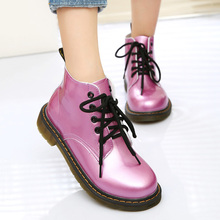 2019 Bright Patent Leather Boots Female Stud. Boots For Girls Ankle Boots For Martin Boots Round Toe Lace Up Booties Women Shoes tie up patent leather eyelets ankle boots