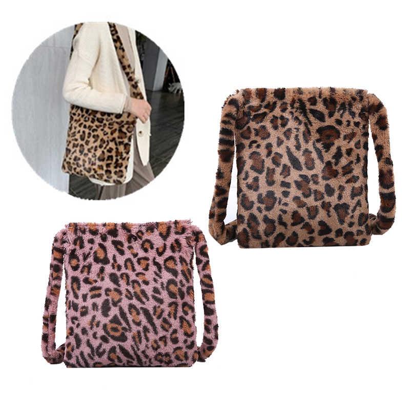 Sacos de ombro de pelúcia de leopardo para as senhoras da forma do outono e do inverno das senhoras do vintage bolsas femininas grande capacidade mensageiro