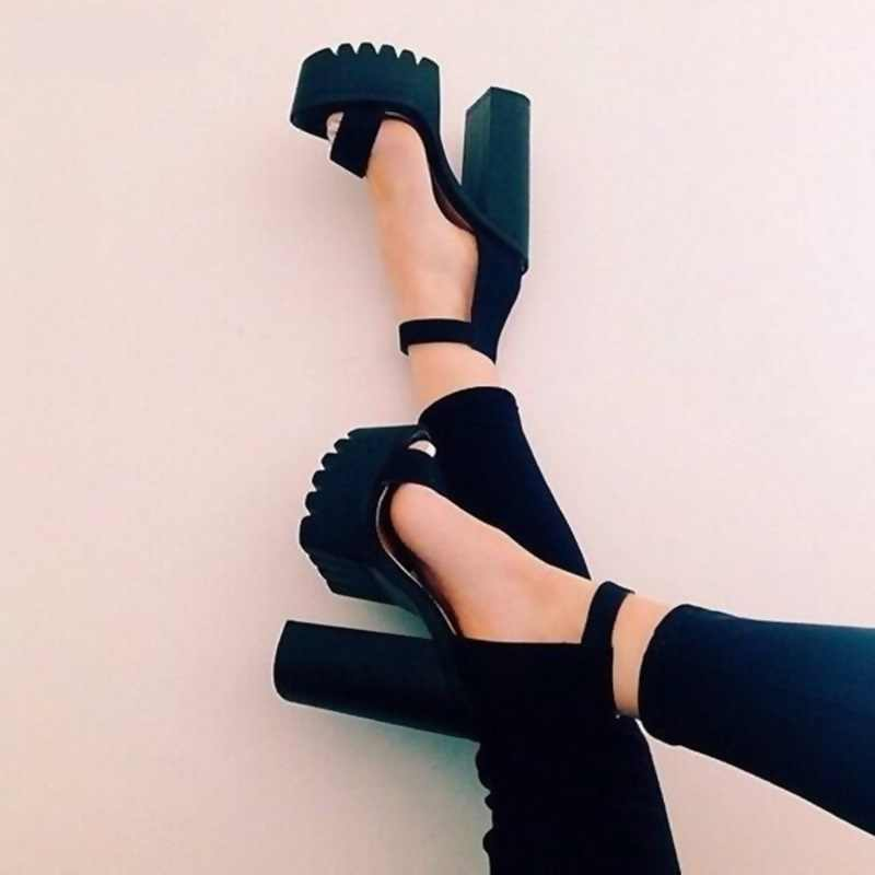 Sexy Black Chunky Heels Sandals Ankle