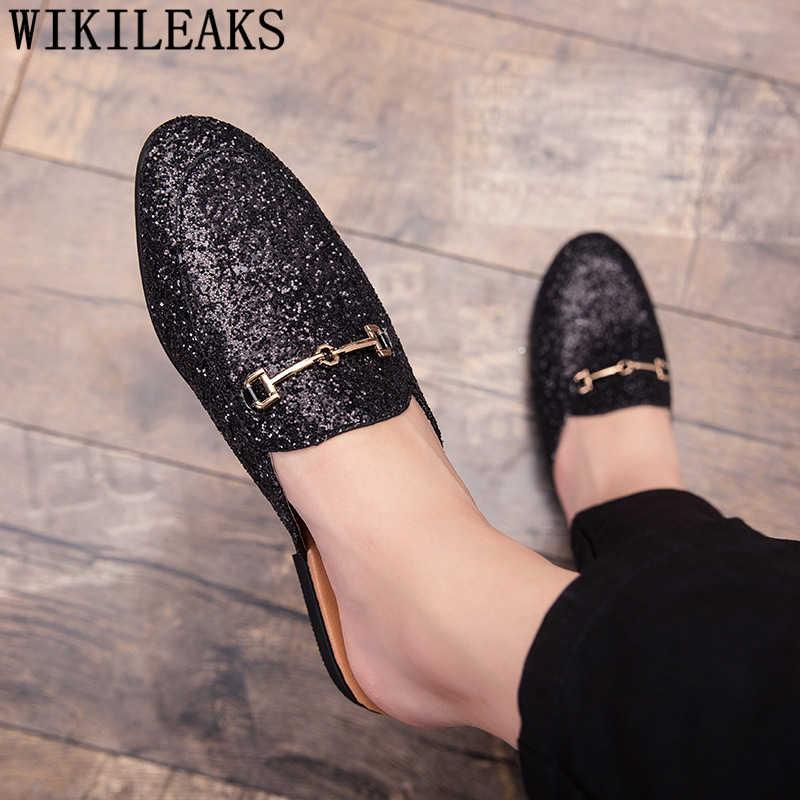 Meia sapatos para homem glitter sapatos chinelo chinelos masculinos casual mule masculino scarpe uomo schoenen mannen sepatu pria kapcie