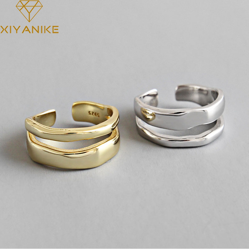 Женское кольцо с двумя кругами XIYANIKE, модное элегантное кольцо из стерлингового серебра 925 пробы с геометрическим узором, регулируемое ювелирное изделие ручной работы Кольца      АлиЭкспресс