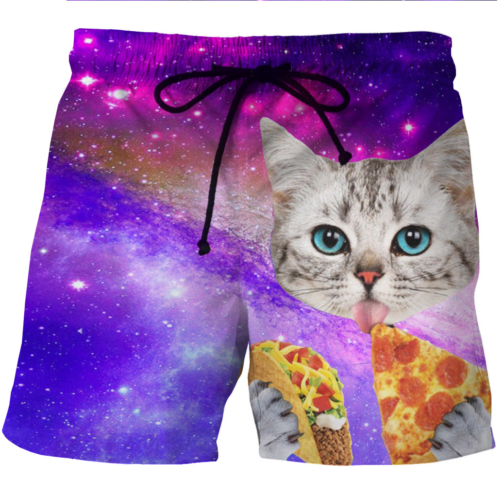 New European And American Men's Quick-drying Short Shorts With 3D Printing Kitten's Side Pocket Printing Leisure Shorts