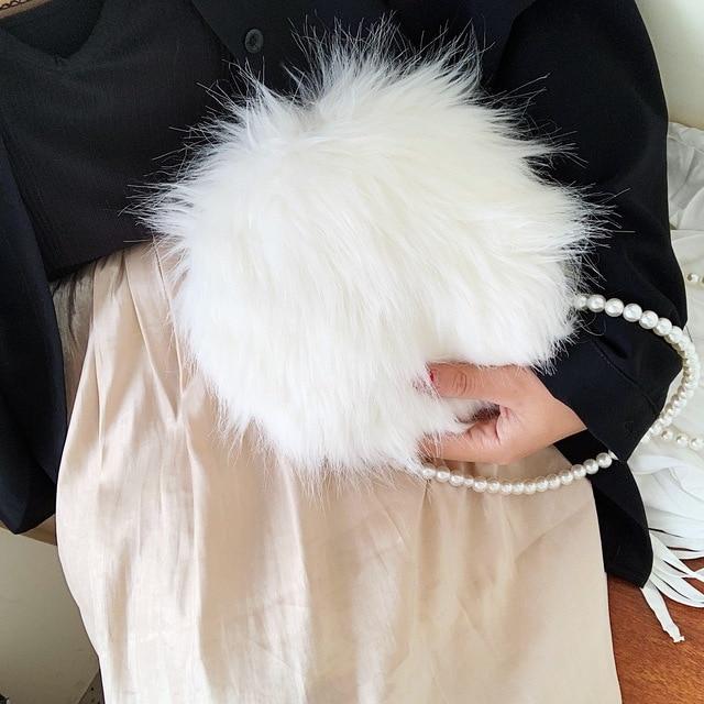 White shoulder bag fashion faux fur handbag soft and comfortable suede handbag round autumn and winter hot mini pearl chain bag 4