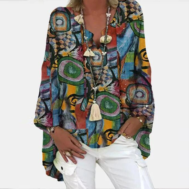 Vintage Floral Print Long Sleeve Blouse Shirt 2021 Spring Fashion V Neck Pullover Tops Ladies Casual Plus Size Streetwear Blusa 6
