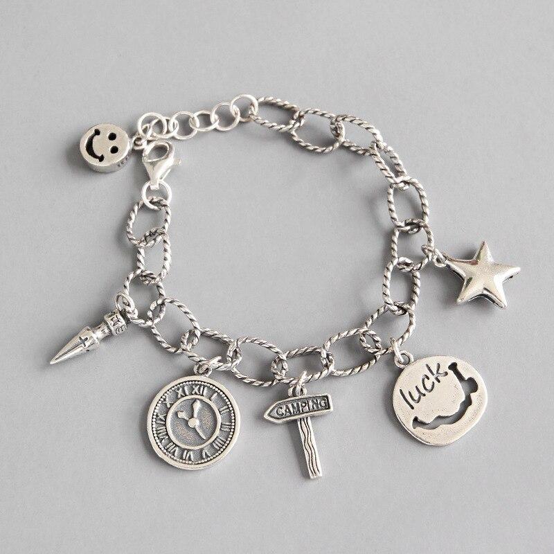 Корейский S925 Серебряный браслет с улыбающимся лицом Ретро ручной работы монета пеньковая веревка овальная цепочка женский браслет серебря