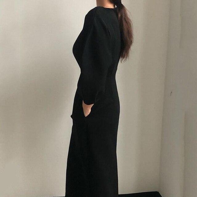 Sister Fara New Spring Elegant O-Neck Dress Ladies Office Fashion Sexy Solid Dress Women Autumn Slim Midi Dress Vestidos OL 2021 5