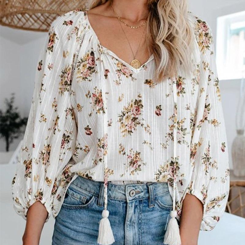 Flower Print  Women's Blouse With Tassel Summer V-neck Plus Size Blouses Female 2020 Lantern Sleeve Casual Sweet Ladies Tops