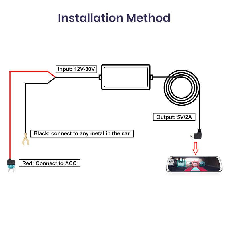 Junsun Mini USB 12/24V 5V câble de chargeur de voiture Kit de fil dur Kit de cordon de chargeur Protection basse tension pour la conduite des caméras de tableau de bord enregistreur