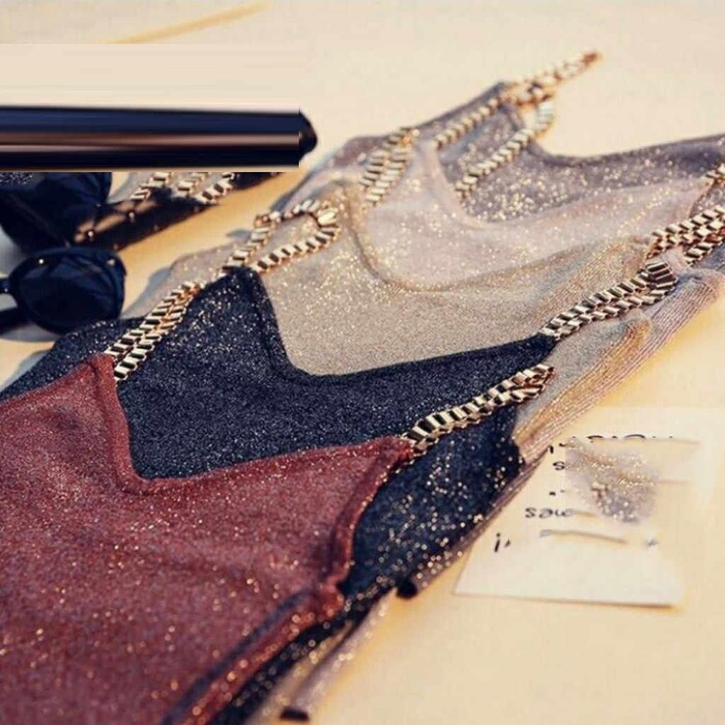 2020 여성 탱크 탑 섹시한 클럽 여성 스파게티 소녀 캐미솔 메탈 스트랩 섹시한 v 넥 스웨터 얇은 밝은 메쉬 반짝이 블링 탑