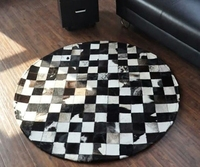 Round black and white Cowhide rug living room table mat bedroom bedside rug joint leather with fur rugs home decorations