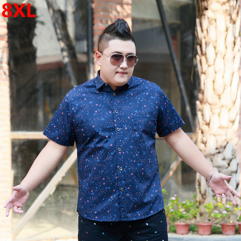 Summer Men's Plus Size XL Lapel Short Sleeve Cardigan Shirt Extra Large Pocket Casual 8XL Oversized