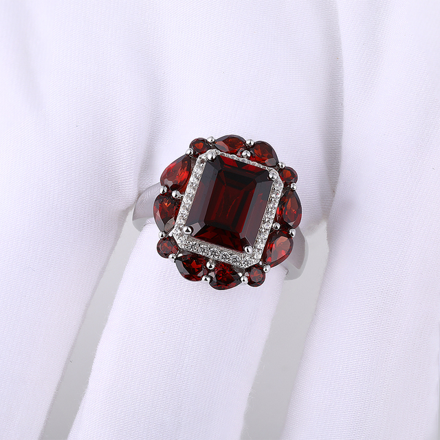 GZ ZONGFA Hot Sale Handmade Wedding Engagement Fine Jewelry Natural Garnet 925 Sterling Silver Ring For Party women 2