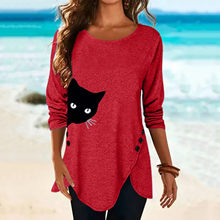 2021 moda damska nadruki kotów koszula ubrania luźna koszulka z długim rękawem topy Casual koszula damska Top Dropshipping