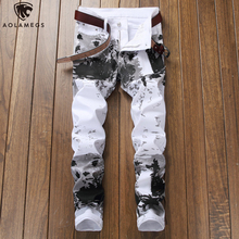 Aolamegs Jeans Men Camouflage Print Fashion Denim Pants Harajuku Casual Slim Fit Trousers Spring High Street Streetwear