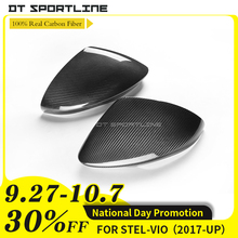 100% Real Carbon For Alfa Romeo Stelvio SUV  2017 Fiber Mirror Cover side Caps Add On Car Styling With 3M Tape