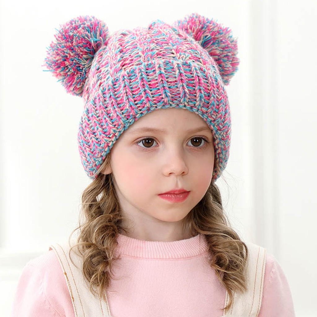 Knitted Hat Bear Winter Caps Beanie-Cap Ears Wool Girls Boys Hairball Child Cute Casual