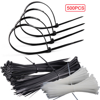 100/500Pcs Nylon Cable Ties Self-locking Cable Zip Fasten Wire Accessories Wrap Strap Fastening Bag Clips Tie Plastic Zip Ties