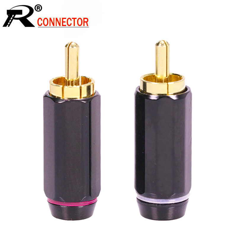 10pcs/lot RCA Connector Gold Plated RCA Male Plug High Quality Speaker Jack Plug RCA Cable Wire Connector 5 Pairs Red+White
