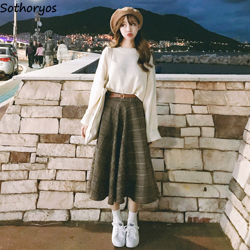 Skirts Women Winter Woolen Plaid Retro All-match Korean Style Elegant Long Skirt Womens Trendy Students Moda Mujer 2020 Sweet