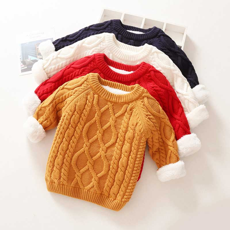 Kids Boys Girls Sweater Autumn Long Sleeve Knitwear Tops Clothes 2021 Winter Thick Warm Kids Add Wool Baby Boy Girls Sweater 1