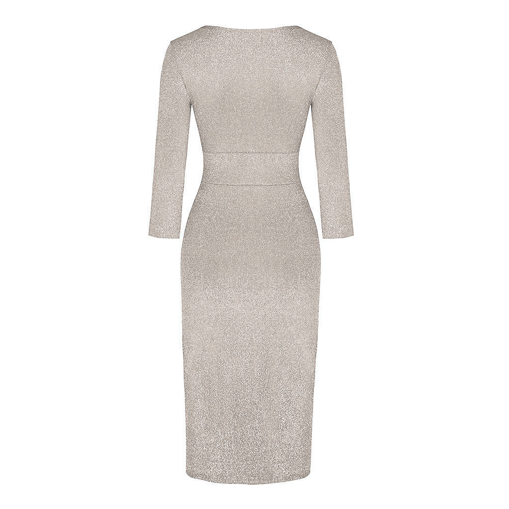 vestido de mujer Women Fashion V Neck High Slit Bodycon Dress Long Sleeve Party Dresses femme