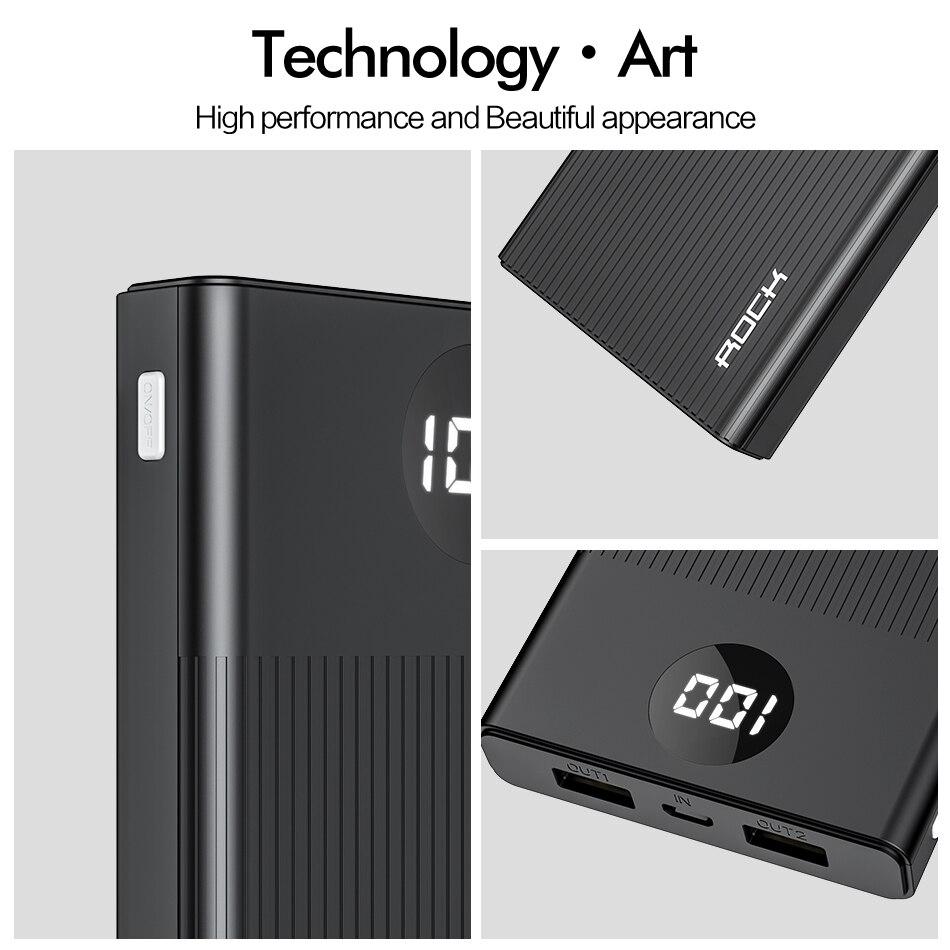ROCK Power Bank 10000mAh LED Display Portable Charging PowerBank 10000 mAh USB External Battery Charger For Xiaomi Mi 9 8 iPhone 2