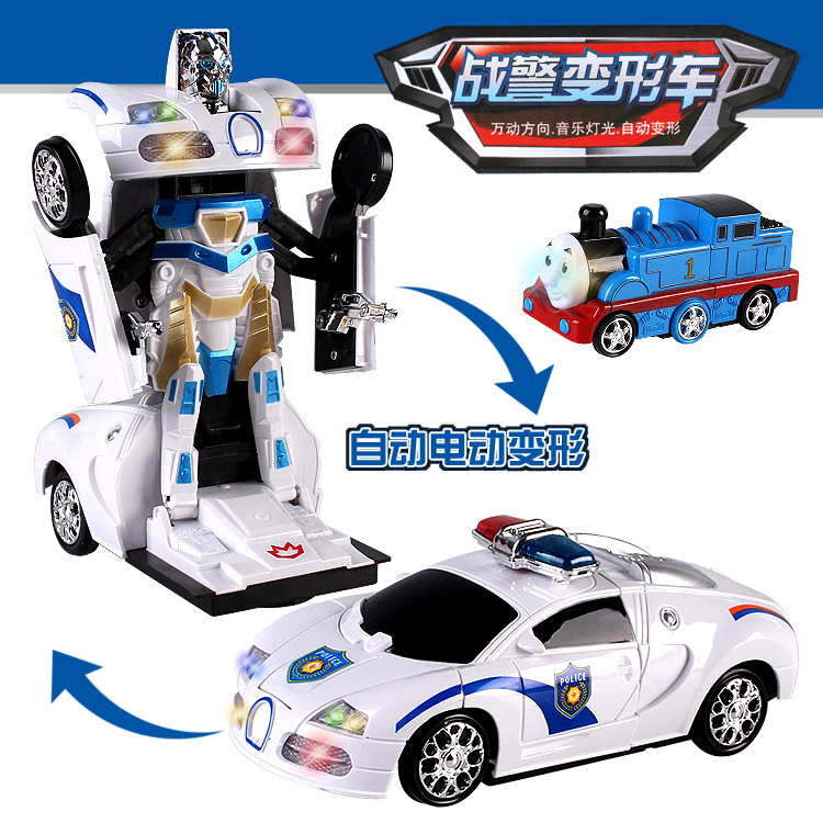 CHILDREN'S Toy Electric Transformer Police Car Small Train Electric Universal Toy With Light And Music