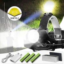8000lm xhp70.2 powerful led headlamp xhp70 18650 rechargeable usb head lamp xhp50 led headlight waterproof power bank head torch