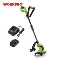 WORKPRO-Cortacésped eléctrica sin cables para jardín, recortadora, herramientas con batería y cargador incluidos, 18V, 2000mAh y 23cm de diámetro de corte