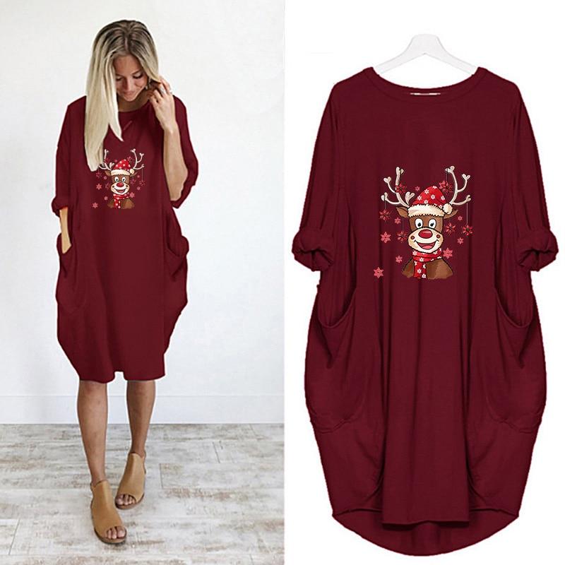 Купить женское винтажное платье миди с принтом оленей и карманами