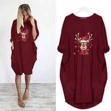 Женское винтажное платье миди с принтом оленей и карманами