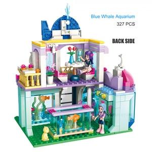 Image 3 - Qman 2012 Blau Whale Aquarium Set Freunde Serie mit Mini figuren Educational Building Blocks Spielzeug Für Mädchen DIY Geschenke 487PCS