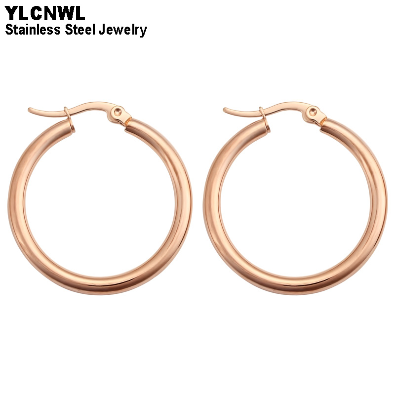 Rose Gold Stainless Steel Smooth Circle Ring Earrings For Women Hoop Clip On Fashion Wedding Jewelry 2020 Hoop Earrings Aliexpress