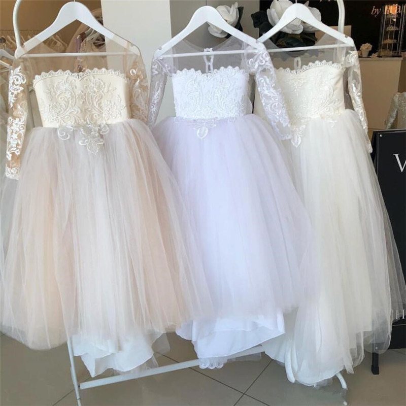 2020 Hot sale Flower Girls Dresses Long Sleeves For Weddings Lace Appliques Ball Gown Birthday Dress Girl Communion Dress