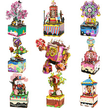 Robotime DIY 나무 오르골 메리 이동 회전 목마 생일 선물 어린이 여자 친구 여자를위한 선물