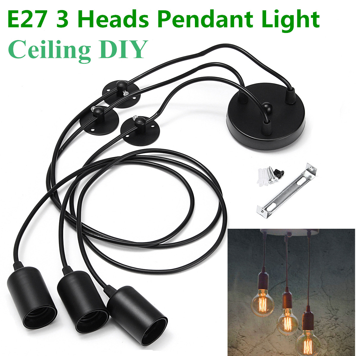 Smuxi Black E27 3 Heads Pendant Light Vintage Industrial Edison Ceiling Lamp  Dining Lighting Retro Pendant Lamp