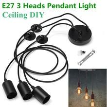 Smuxi negro E27 3 cabezas colgante luz Vintage Industrial Edison lámpara de techo comedor iluminación Retro lámpara colgante