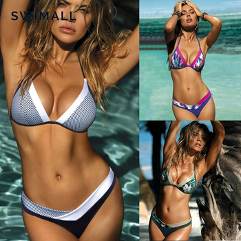 Sexy Bikini 2019 Female Swimsuit Bikinis Set Splicing Printing Backless Swimwear Women Biquinis Beachwear