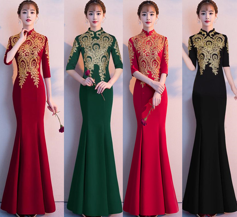 Dress For Toast Bride 2019 New Style Autumn Long Sleeve Chinese Style Fishtail Cheongsam Marriage Formal Dress Women's Slim Fit