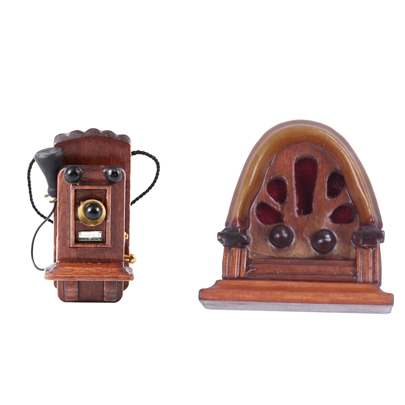 2 PCS 1:12 Miniature Vintage Antique Radio Dollhouse Decoration Accessories, Brown & Coffee