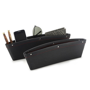 2 Set PU Leather Car Pocket Organizer Seat Console Gap Filler Side Seat Crevice Storage Box Universal Car Seat Side Gap Pocket